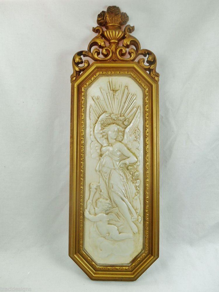 ~EUC~Vintage Hanging Wall Plaque Dart Inc Homco Carved Angel w/Cherub~Gold~Ivory