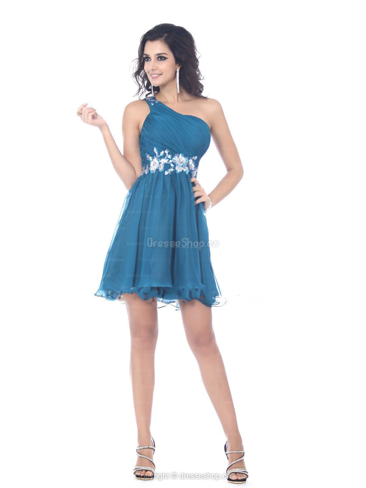 A-line One Shoulder Chiffon Short/Mini Blue Appliques Party Dress ...