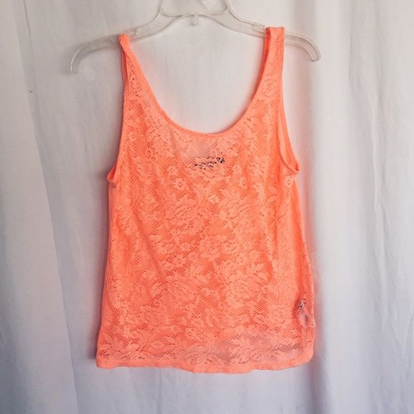 Neon Tank Beautiful peachy pink colored tank! Perfect Condition! Make an offer Forever 21 Tops Tank Tops