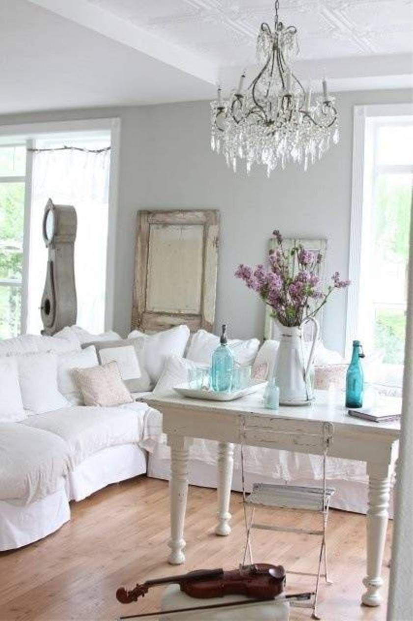 Living Room Shabby Chic Style For With White Sectional Sofa And Chandelier Antique Clock Door Grey