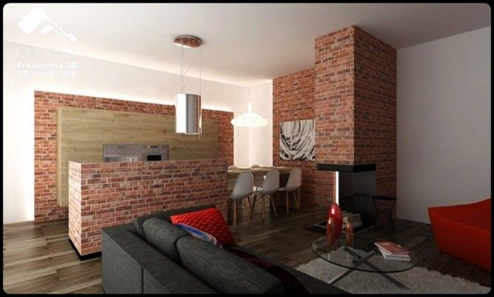 Chicago Style Exposed Brick One Bedroom Apartment Note The Kitchen Hiding Behind Half Wall
