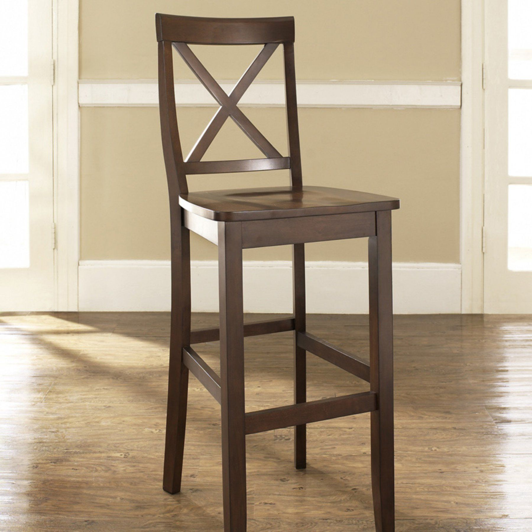 Crosley X Back 30 In Bar Stool Set Of 2 Wood Bar Stools Bar