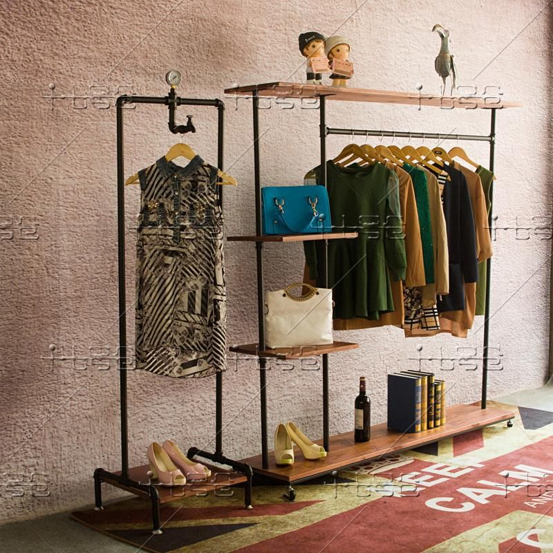 LOFT Industrial Pipe Hangers Floor In The Island Shelf Wall Retro Clothing Store Display Rack On Dining Tables From Furniture