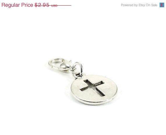 On Sale Cross Zipper Pull Purse Charm Silver by JewelrybyKristineB