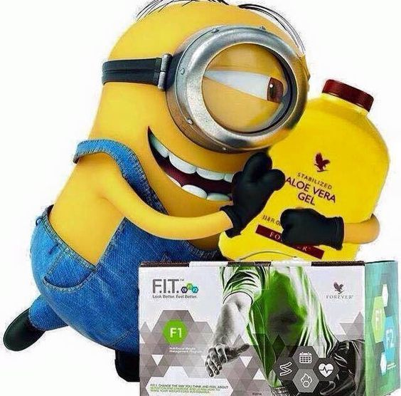 Even the minions drink Forever's Aloe Vera Gel and do the F.I.T Program. Www.foreverhealthy2014.flp.com