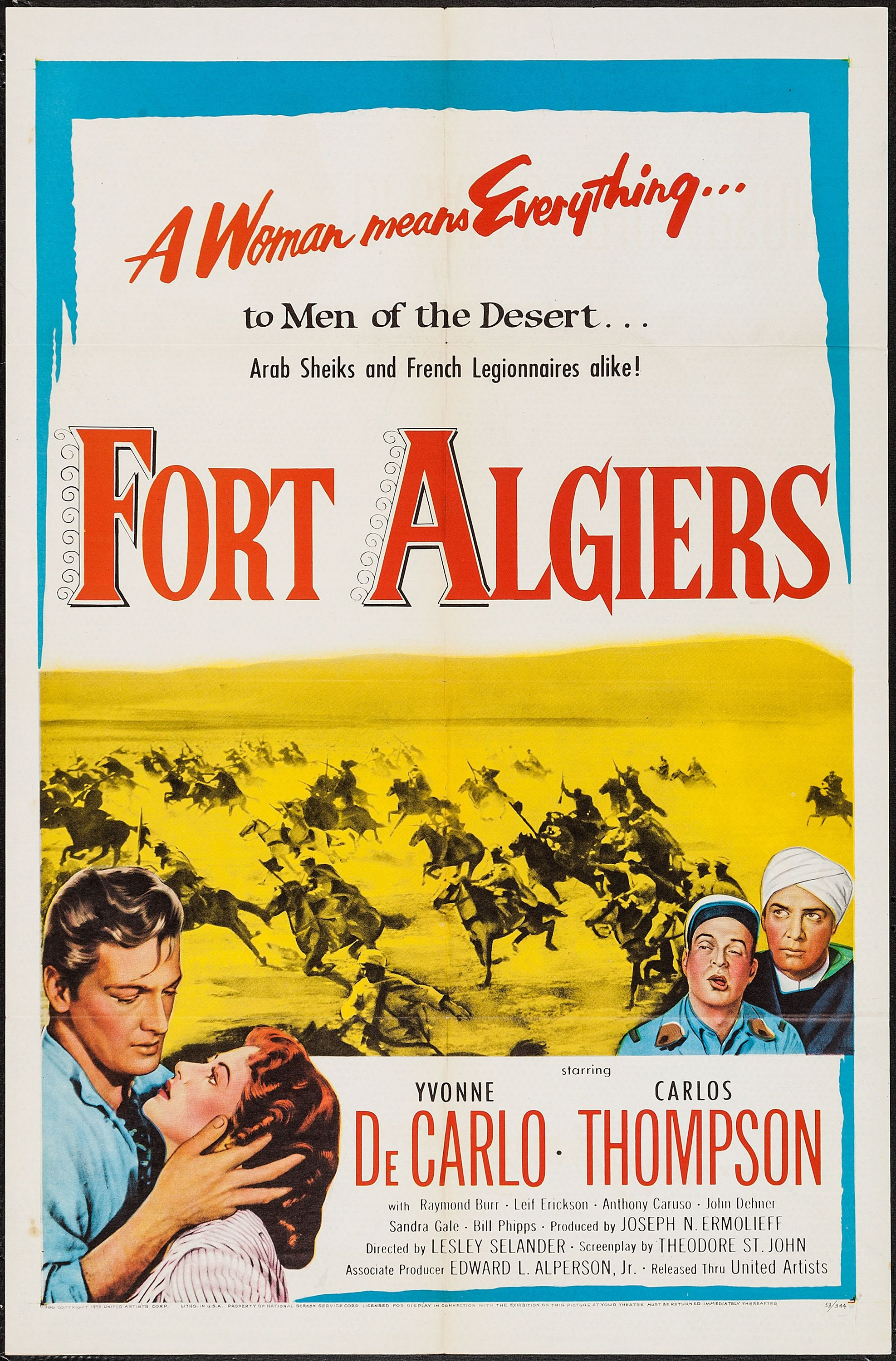 "fort algiers (united artists, 1953). one sheet (27"" x 41""). action"