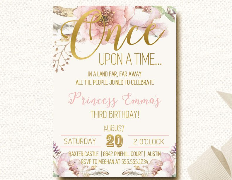 Once Upon A Time Fairytale Storybook Girls Birthday Invitation