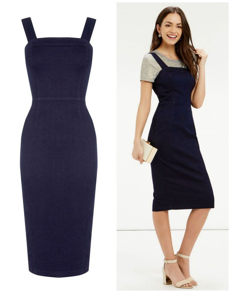 8ef8f6762737 NEW OASIS STRETCH DENIM INDIGO BLUE PENCIL PINAFORE DRESS 8 to 14 in ...