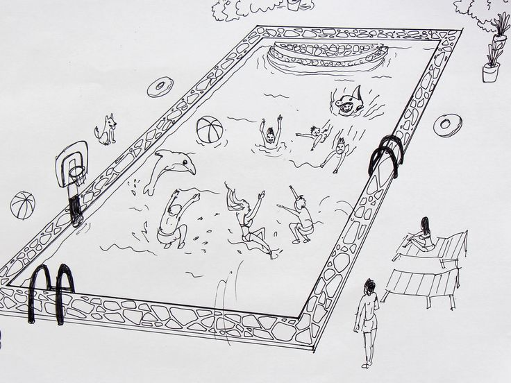 Swimming Pool Sketch : How to draw a swimming pool via wikihow ram book