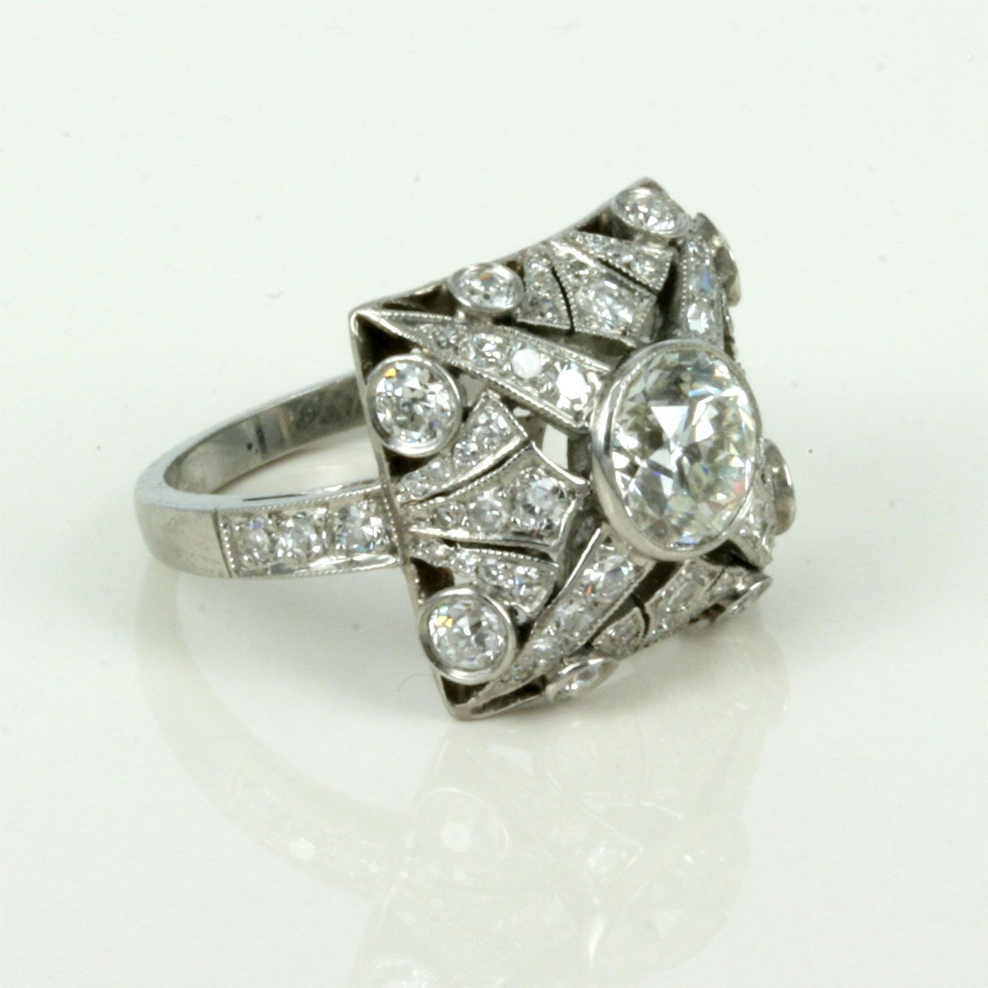 set image art a bands style deco rings engagement platinum ring from diamond