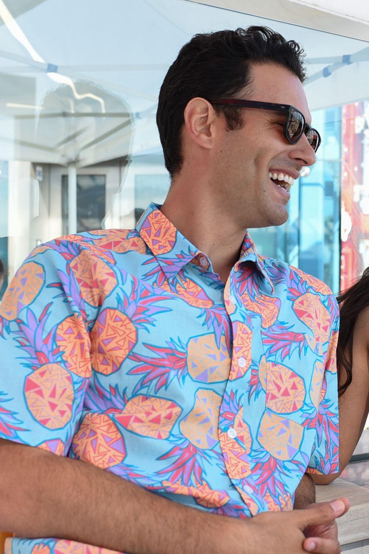 7bb94ea2 Men's Pineapple Hawaiian Shirt | Tipsy Elves | Beachin' | Shirts ...