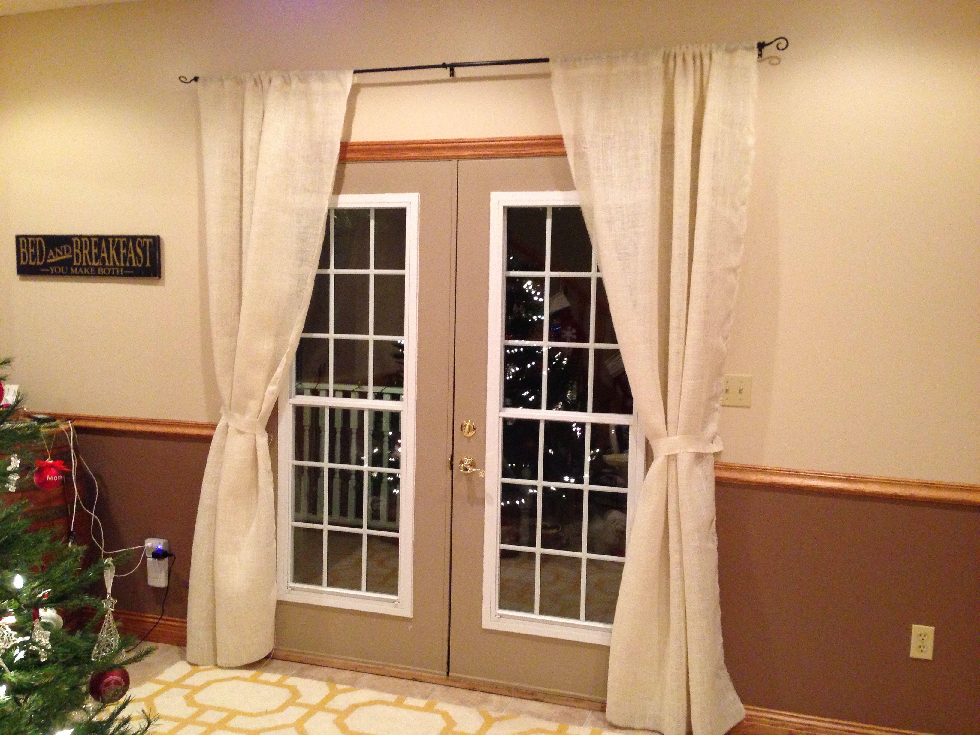 Burlap curtains.