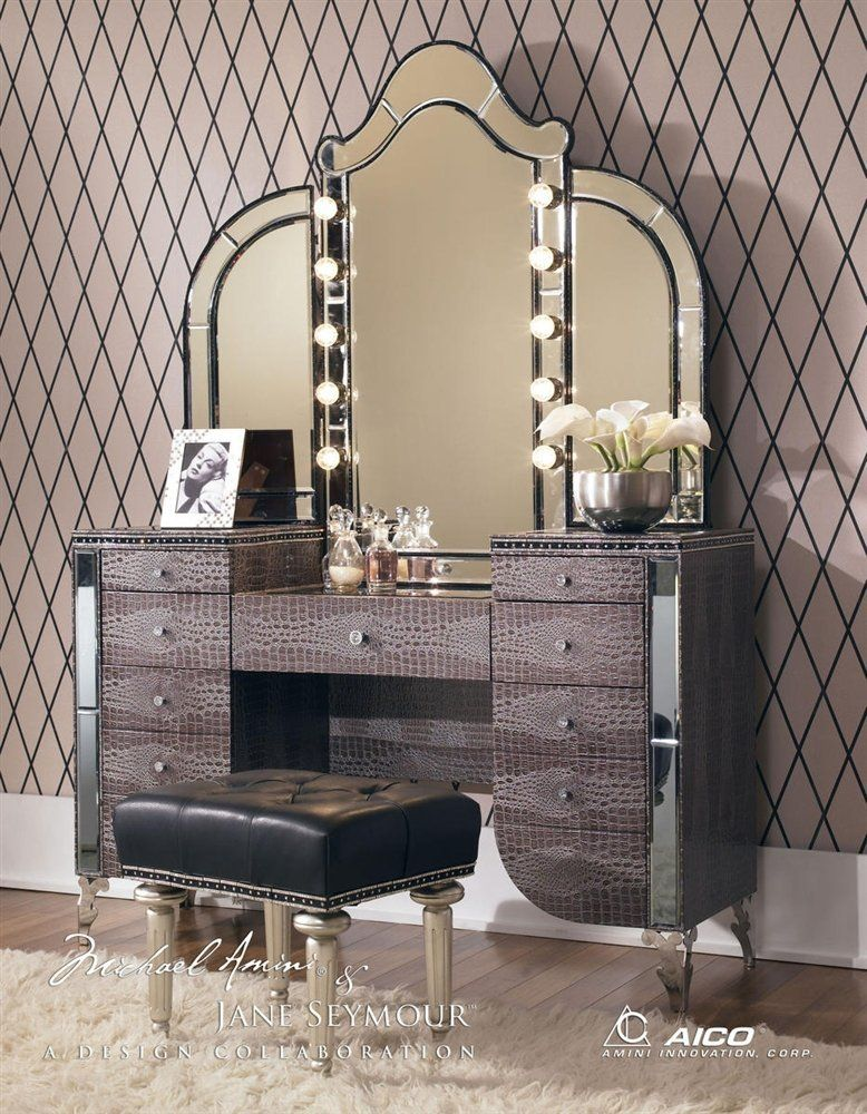Aico Hollywood Swank Vanity with Bench Set & OMG!!! Gorgeous!!!! Aico Hollywood Swank Vanity with Bench Set 3 ...