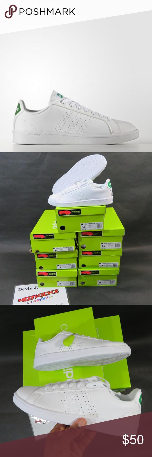 adidas Neo Cloudfoam Advantage Clean Whitegreen Aw3914 Mens