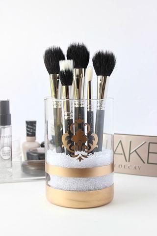 how to make a gold makeup brush holder  recipe  makeup