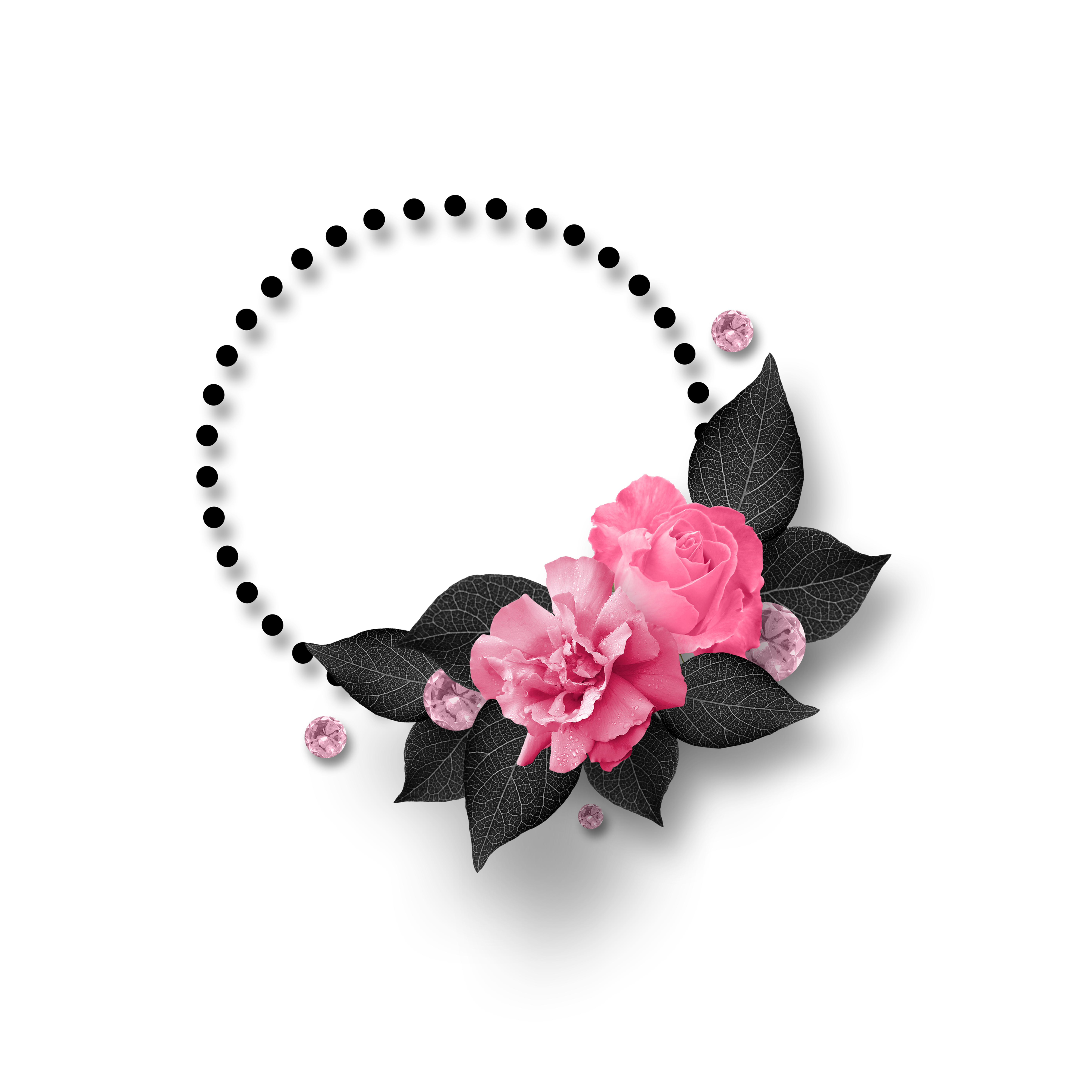 Black And Pink Blank Text Box With Flowers And