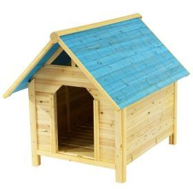 Doghouse doghouse, wood, solid, blue 98x116x87cm | at R …-…