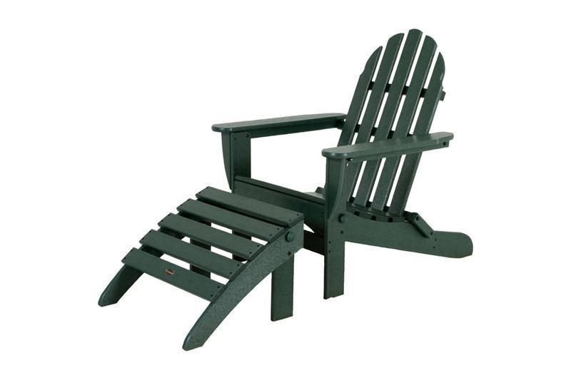 Plastic Adirondack Chairs With Ottoman.Polywood Pws136 1 Gr Classic Adirondack 2 Piece Set In Green