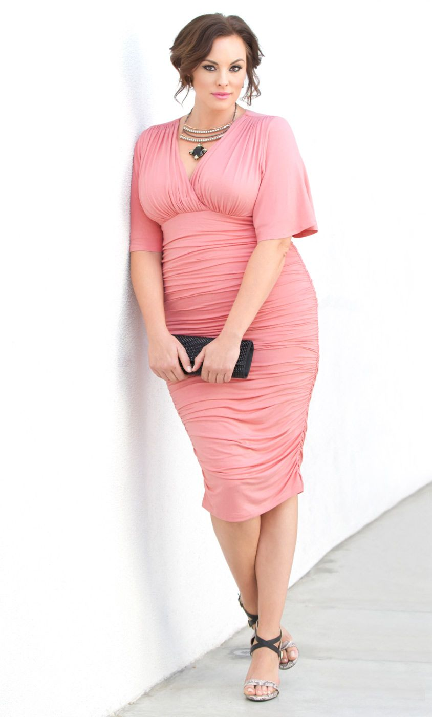 Pink cocktail dress plus size