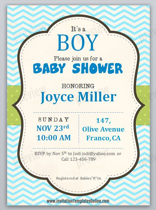 printable baby shower invitation template for boys art in 2018