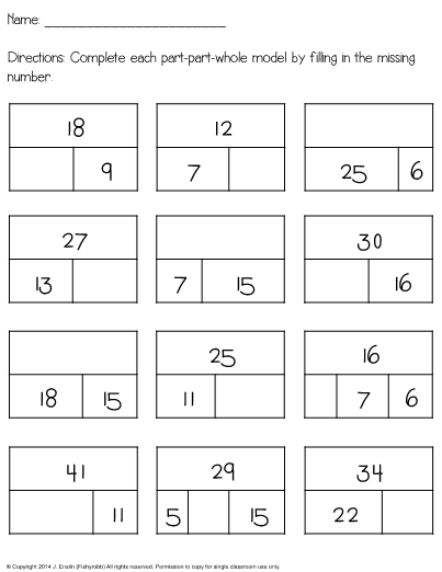 This Is A Worksheet For Adding And Subtracting Using Part Part Whole Bar  Models. These Also Help Bu… 1st Grade Worksheets, Subtraction Worksheets,  Part Part Whole