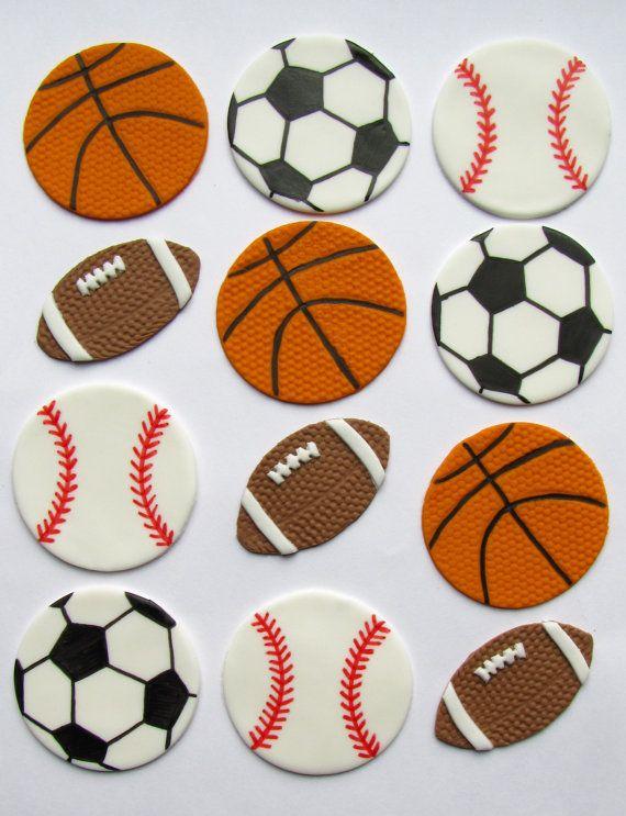 Fondant Cupcake Toppers Sports Assortment Sports Cupcake Toppers Fondant Cupcake Toppers Fondant Cupcakes