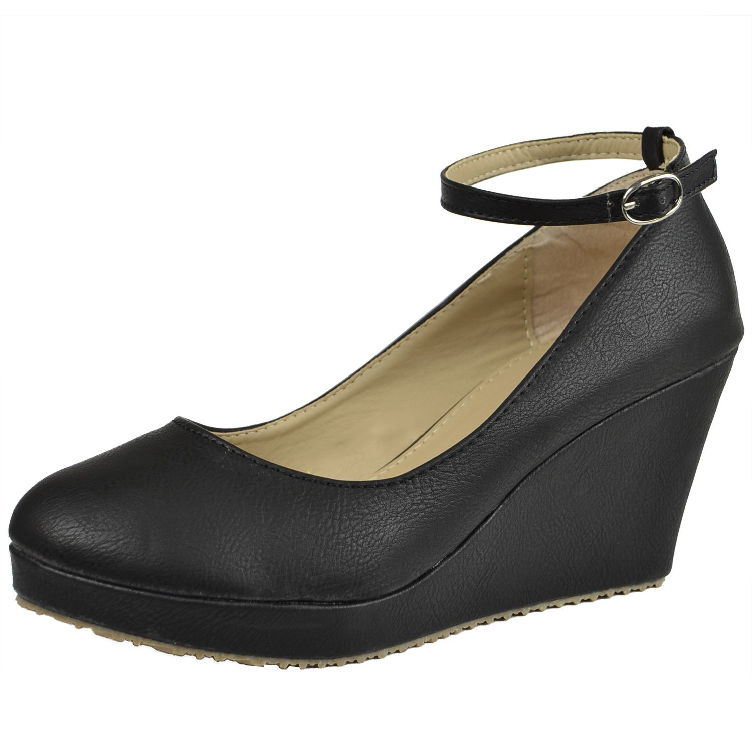 Womens Platform Shoes Ankle Strap Closed Toe Mary Jane Faux