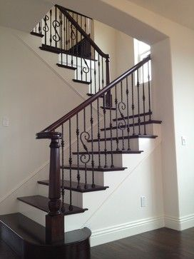 Wood Iron Mediterranean Staircase Wrought Iron Staircase | Iron And Wood Railing | Modern | Brown | Front | Horizontal | Craftsman