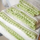 White terry towels with green seersucker pleated border.  New at Grace Hayes Linens for Spring!