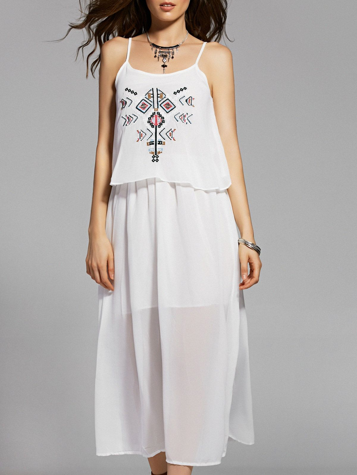 Ethnic Embroidery Cami White Maxi Dress #women, #men, #hats, #watches, #belts, #fashion, #style