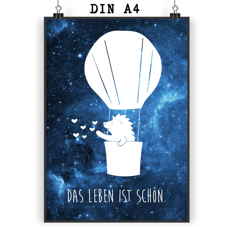 Poster Din A4 Igel Im Heißluftballon Aus Papier 160 Gramm Weiß Das