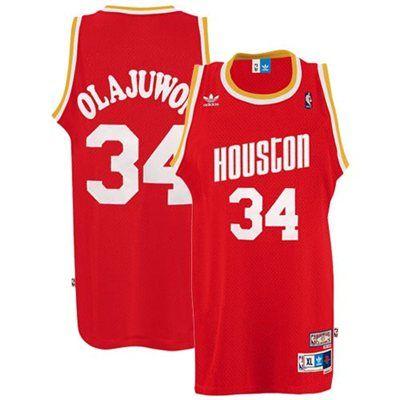 half off b7a24 c6876 adidas Houston Rockets #34 Hakeem Olajuwon Red Hardwood ...
