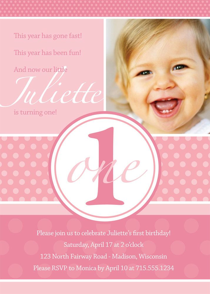 First Birthday Invitation Pretty Dots Custom Photo Printable