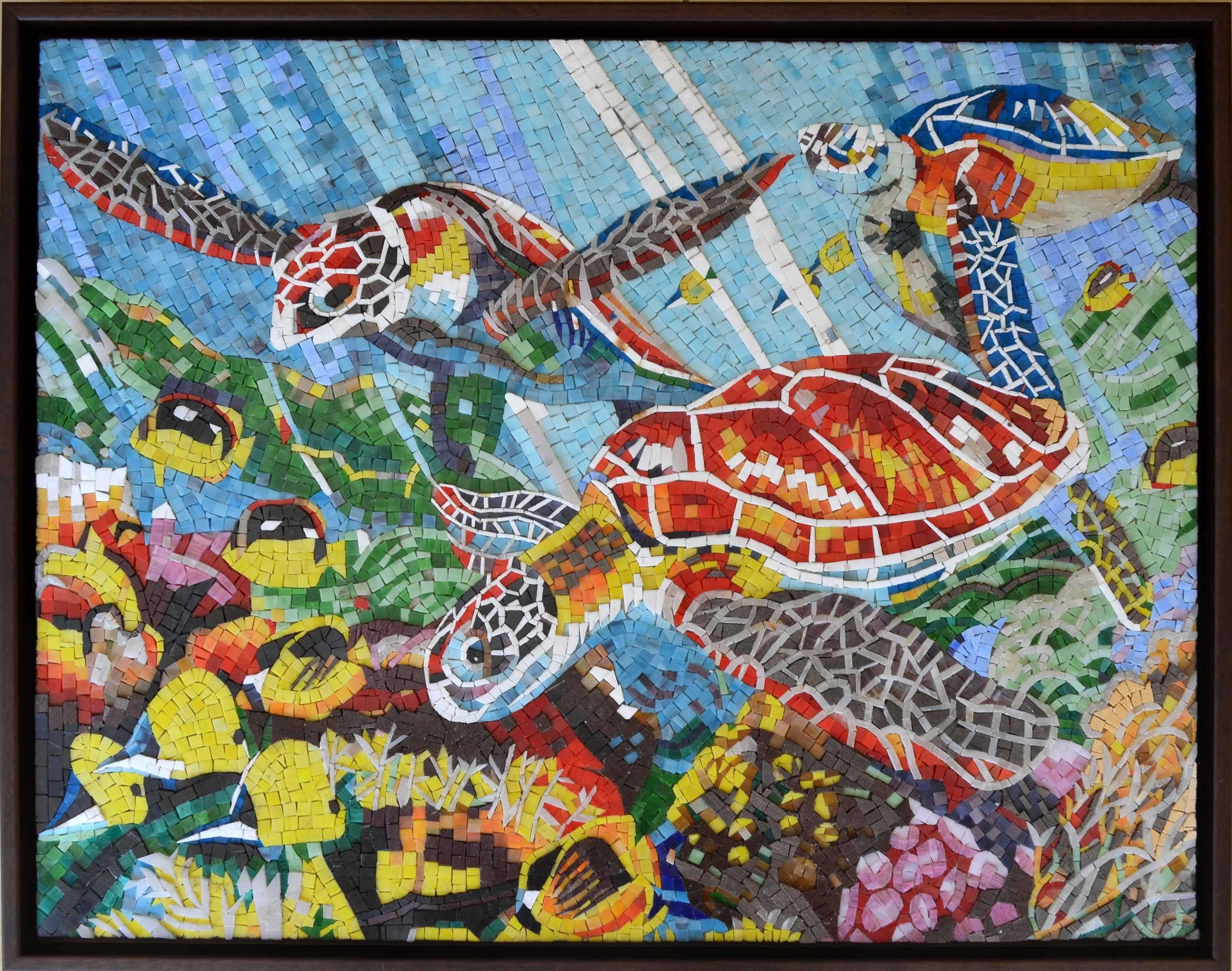 Colorful sea turtles and fish glass mosaic mural mosaic