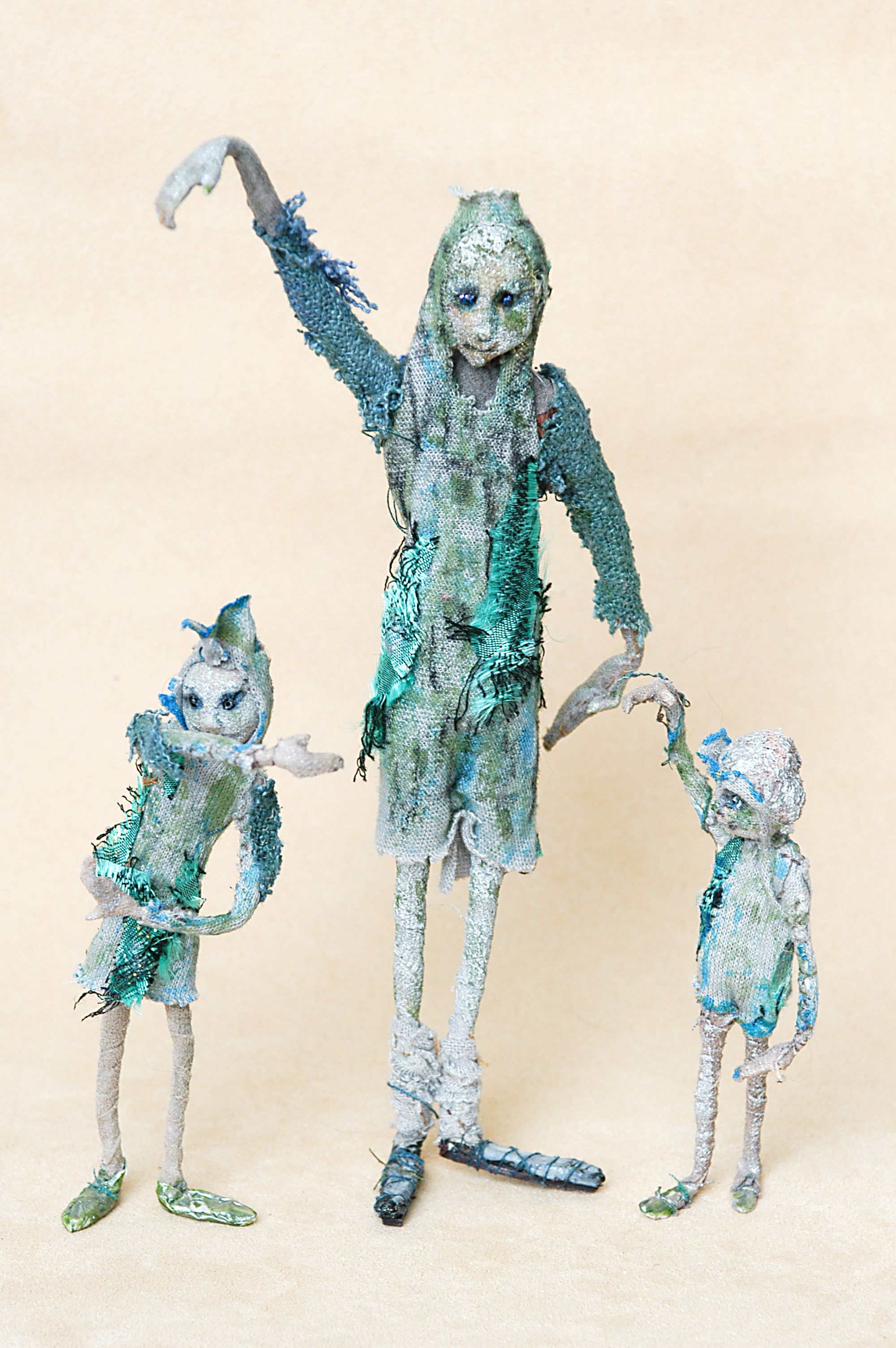 DANCERS Wire armature, wrapped. Mixed media. Hand-stitched ...