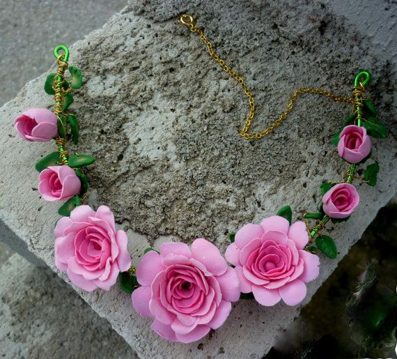 pink flower necklace roses necklacespirng by jewelryfoodclay