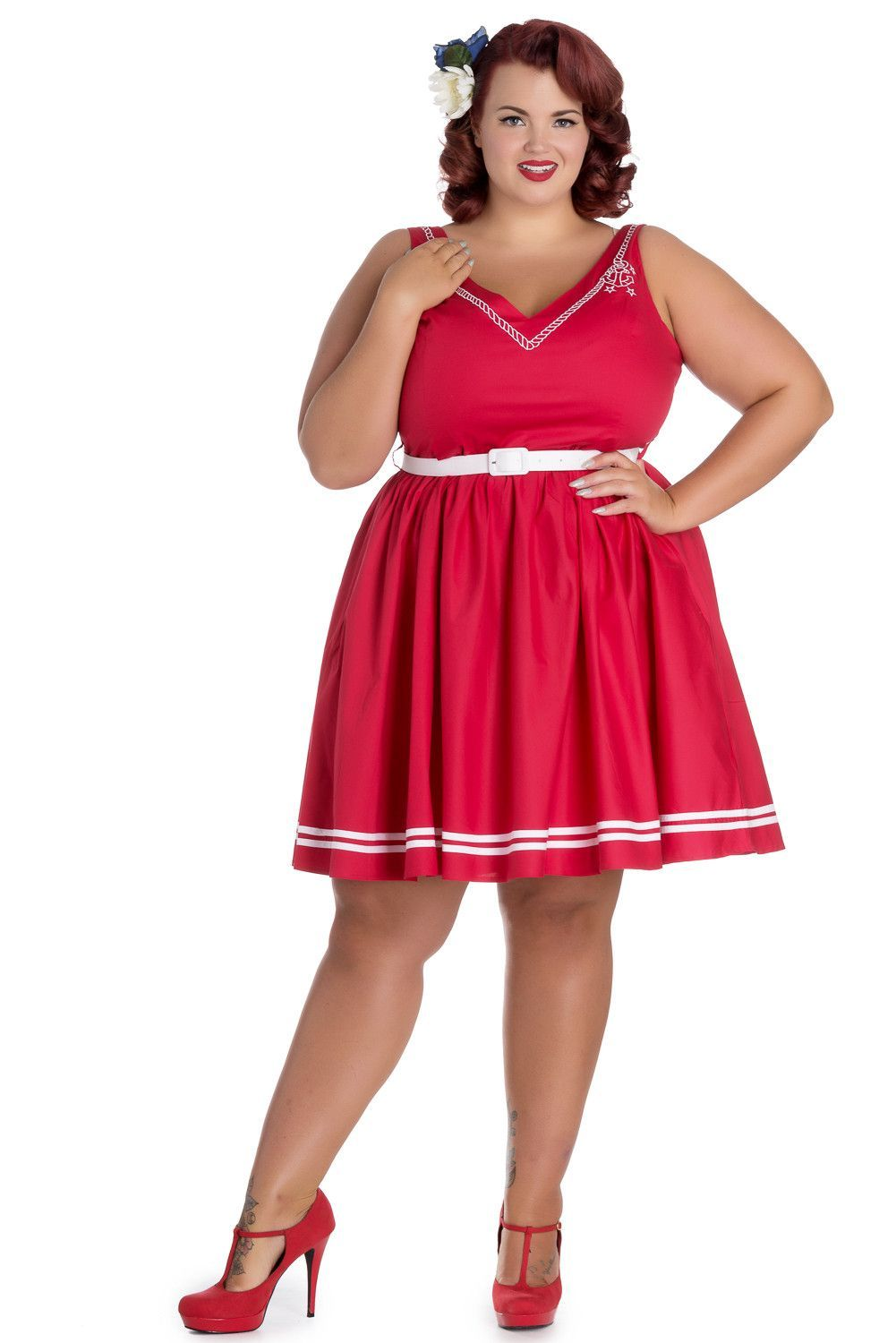 a3b1622cbc Hell Bunny Plus Size Pin-up Sailor Anchor   Rope V-neck Ariel Red Flare  Dress