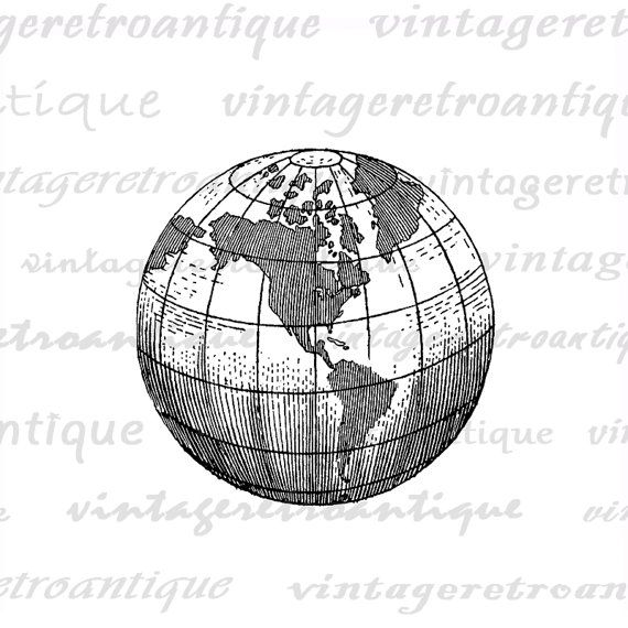 Earth globe world map digital image graphic von vintageretroantique earth globe world map digital image graphic von vintageretroantique gumiabroncs Image collections