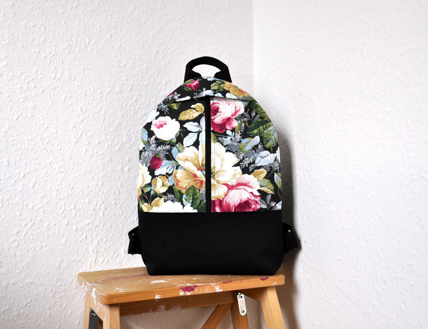 NEW, floral backpack, canvas backpack, backpack purse, cotton ...