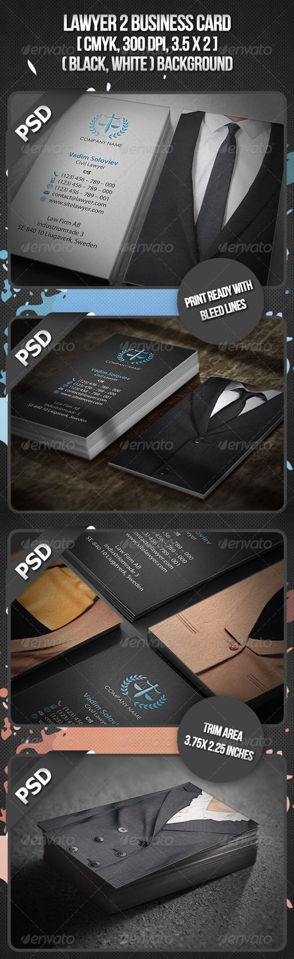 Lawyer 2 Business Card | Print templates, Business cards and Card ...