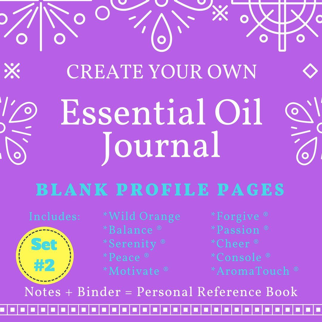 Set 2 Doterra Blank Essential Oil Journal Profile Pages