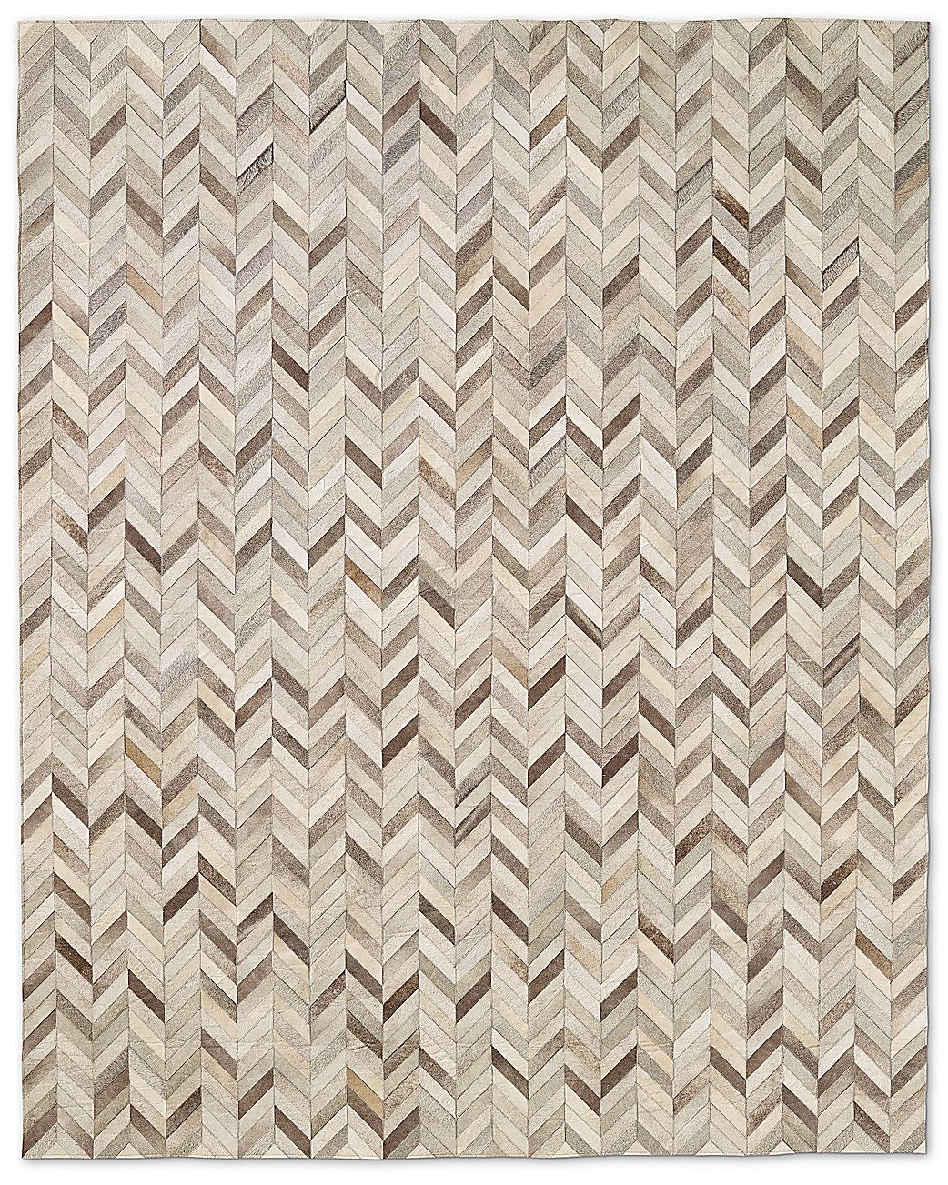 Living A Beautiful Life Chevron Cowhide Rug Grey