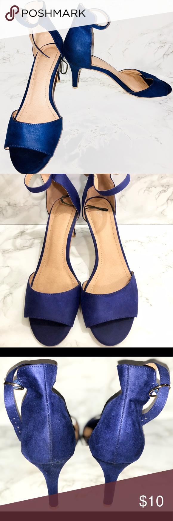 H M Suede Heels Sandals Heels Ankle Strap Size 8 5 Blue Suede Heels Sandals Heels