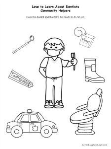 Dentist Coloring Page Worksheets Kindergarten And School