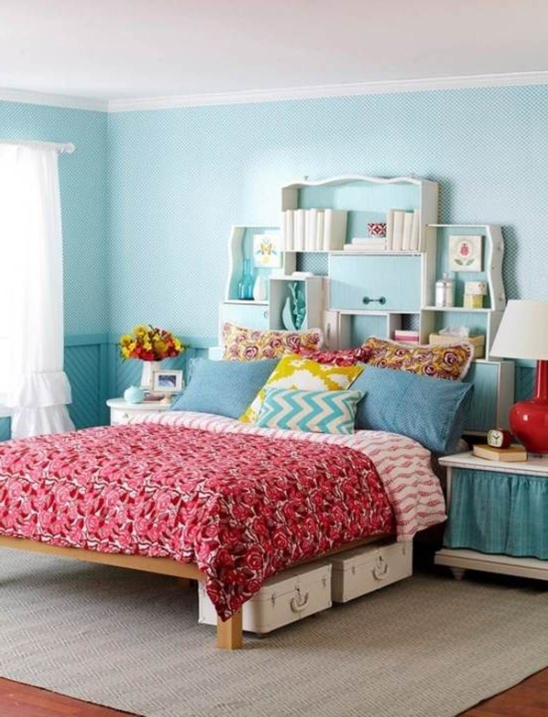 Beauteous Bedroom Design Idea For Teenage Girl With Wooden Queen Bed Frame And Chic Patterned Comforter Set And W Creative Bedroom Bedroom Design Bedroom Decor