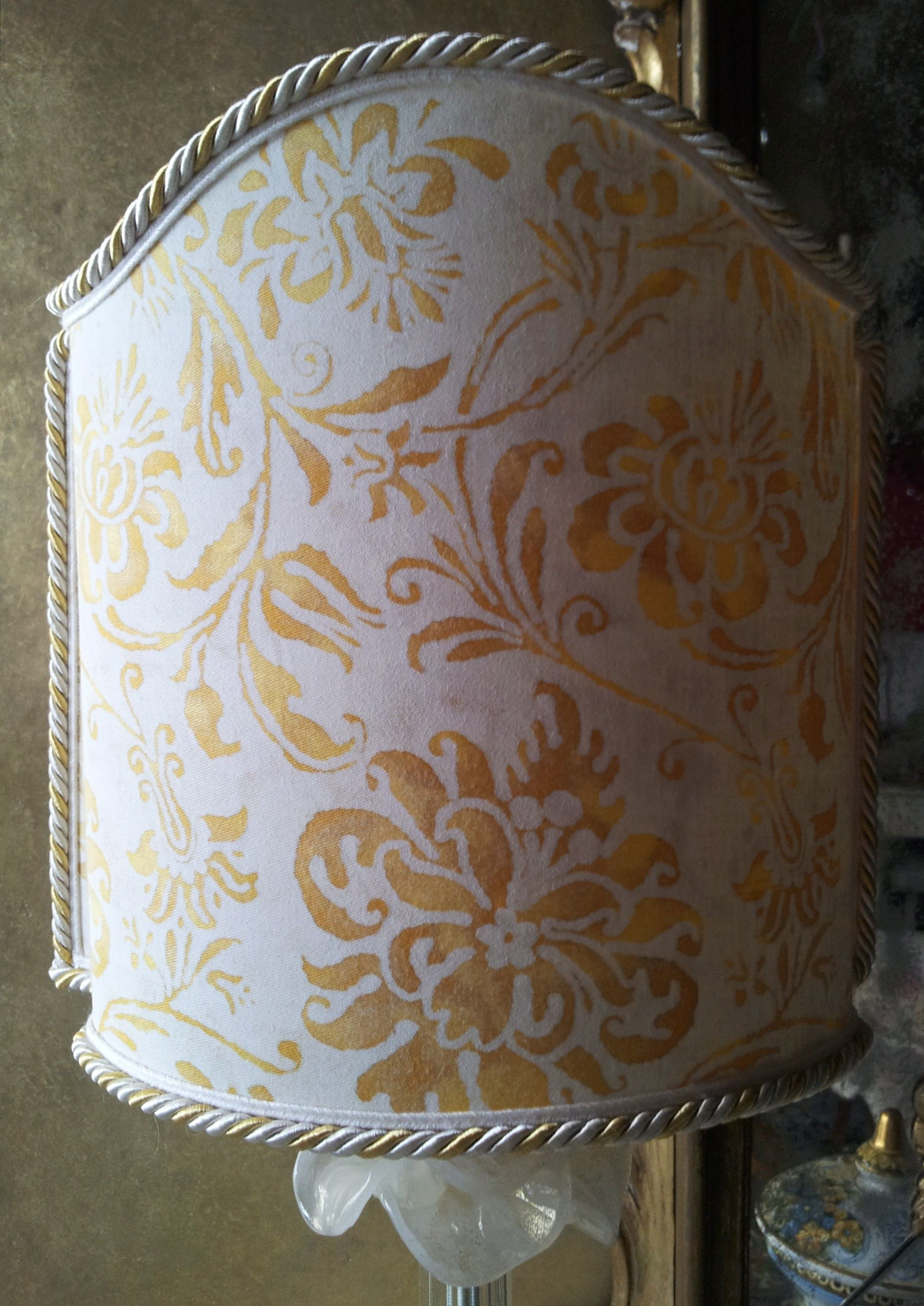 Venetian Lamp Shade In Fortuny Fabric Yellow White Cimarosa Half Lampshade