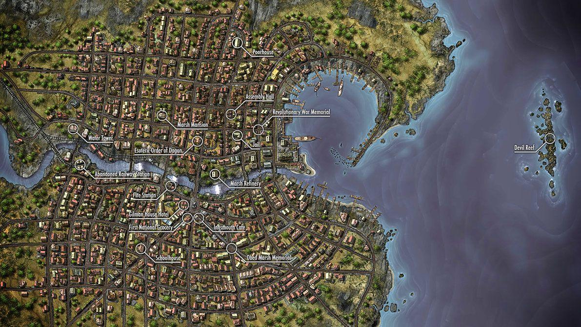 I 39 Ve Always Loved The Innsmouth Map By Henning Www Deviantart Com X2f Art X2f Innsmou Amp Hellip But Though Innsmouth Cthulhu Art Theatrical Scenery