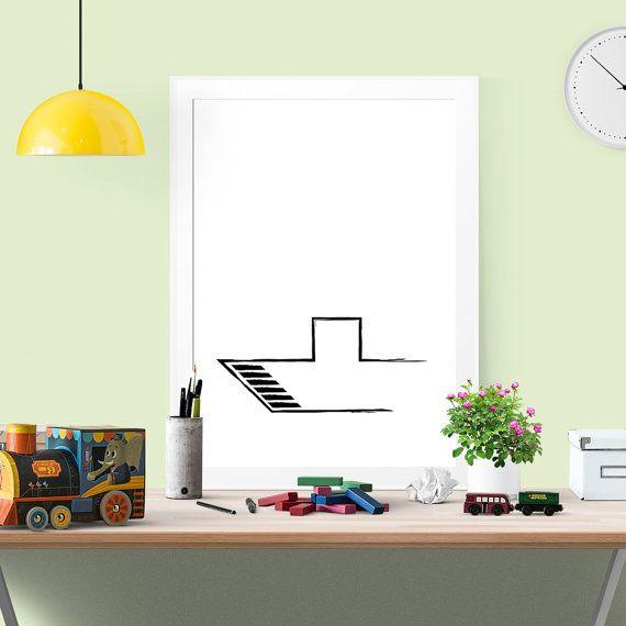ship art nursery print wall art minimalist wall by OrangeKiteLabs