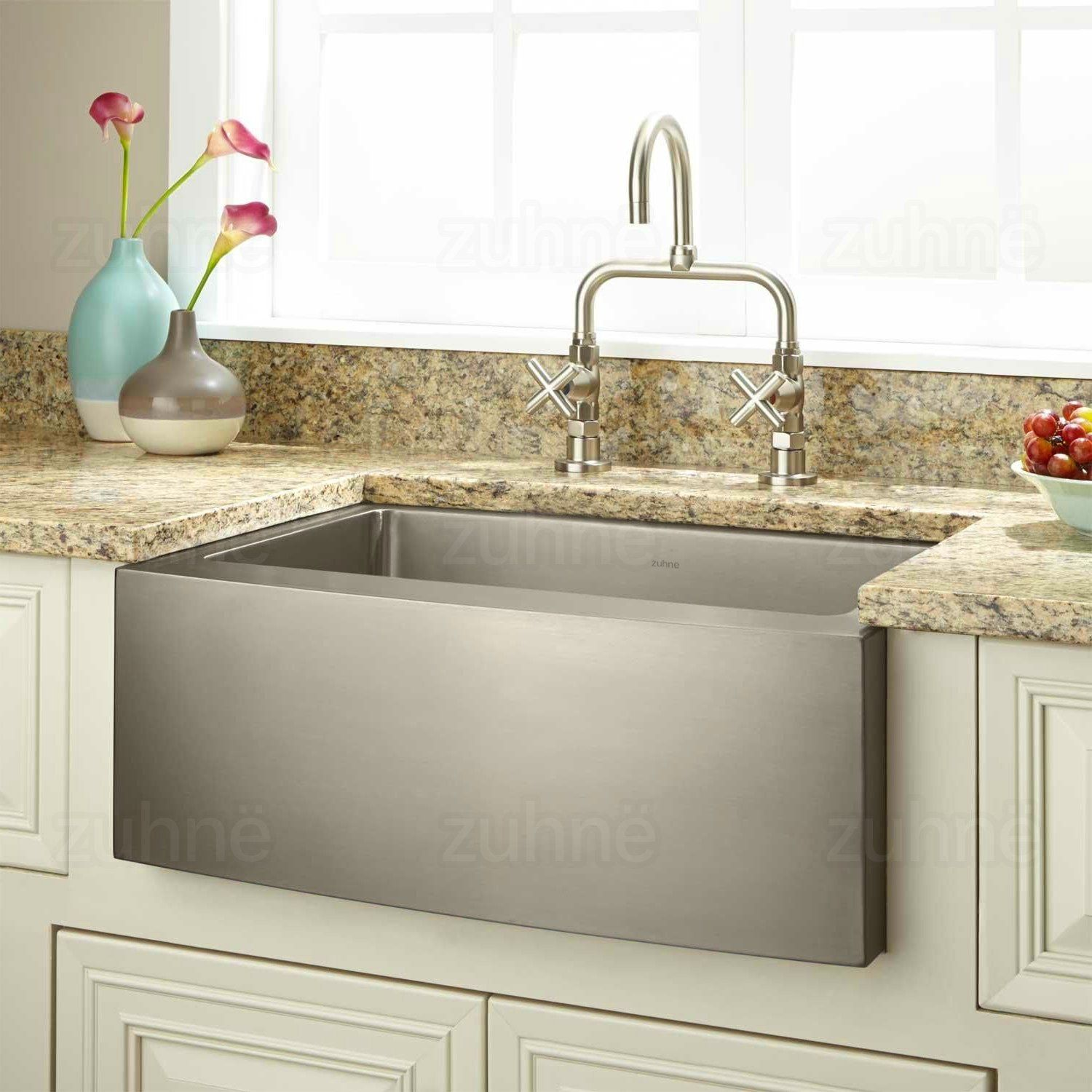 Zuhne 24 Inch Farmhouse Apron Deep Single Bowl 16 Gauge Stainless Steel Luxury Kitchen Sink Am Apron Front Stainless Steel Kitchen Sink Luxury Kitchen Sink