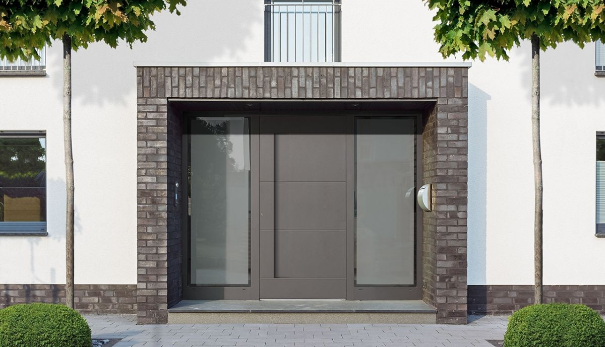 A Stunning Grey Aluminium Front Door With Glass Panels On
